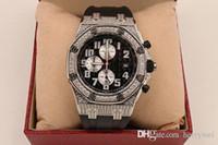 Wholesale Diamond Offshore - Hot Luxury brand AP royal oak offshore series exquisite diamond dial black rubber strap 100% sapphire high quality quartz chronograph watch