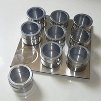 Wholesale Metal Canister Sets - 9pcs Magnetic Spice Jars Magnetic Cruet Condiment Spices Set Stainless Steel Condimento Canister sauce bottle Seasoning Tools