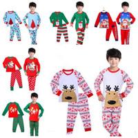 Wholesale Christmas Nightwear Children - Kids Pajama Sets Cartoon Clothing Children Sleepwear Boys Nightwear Christmas Santa Claus Pajamas Toddler Baby Pyjamas 17 Styles Best Gift