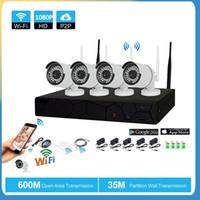 16ch hdmi cctv dvr al por mayor-HD 960P POE 4PCS 1.3MP Red de seguridad para el hogar Cámara CCTV Sistema 4CH HDMI NVR Alerta por correo electrónico Kits de vigilancia P2P