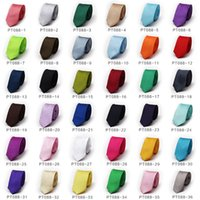 Wholesale Novelty Candy Free Shipping - Free Shipping TIESET Candy Color Fashion 39 Colors Men's Slim Skinny Solid Color Plain Satin Tie Necktie Wedding Neckwear High Quality