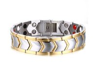 Barato Ions Pulseiras-21.3cm Pure Titanium Double Row 4 Elements Magnetic Health Bracelet Power Wristband para Homens Negativo Ion Bracelets Punk Men Bracelets B805S