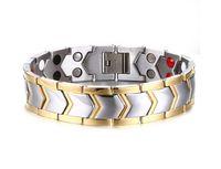 Wholesale Ion Plated Titanium - 21.3cm Pure Titanium Double Row 4 Elements Magnetic Health Bracelet Power Wristband for Men Negative Ion Bracelets Punk Men Bracelets B805S