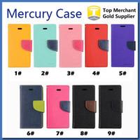 cıva flip toptan satış-Mercury Cüzdan deri PU TPU Hibrid Yumuşak Kılıf Folio Kapak Çevirin iPhone 5SE 6 6 s Artı Galaxy S6 S7 EdgeNo Paketi