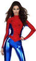 Wholesale Superman Adults Costume - Adult Halloween Sexy Spider-Man Superman Costume Cosplay Party Fancy Dress S348 one size S-L
