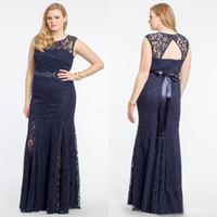 фарфоровые полы оптовых-Плюс размер темно-синий кружева вечерние платья 2016 новый драгоценный камень открытой спиной бисером створки длиной до пола вечерние платья на заказ фарфора EN92210