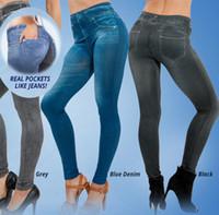 chicas calientes leggings azules al por mayor-Las polainas de las mujeres vendedoras al por mayor-2016 azules y leggings negros de las muchachas de Jean con 2 bolsillos verdaderos polainas inconsútiles de linter