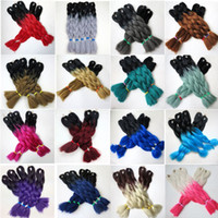 Wholesale braiding hair two colors online - Kanekalon Synthetic Braiding Hair inch g Ombre Two Tone Colored Xpression jumbo braids twist Hair Extensions