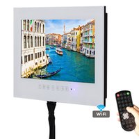 Soulaca 15,6 zoll Weiß TV Outlet ip66 Wasserdicht Wandmontage Touch-Taste Frameless Bad LED Hotel TV