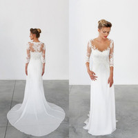 Wholesale New Arrival Beach Wear - 2016 New Arrival Sheath Column Wedding Dresses Beach Bridal Gowns Illusion Scoop Neck Lace Appliqueds Sleeves Brides Wear Sweep Train