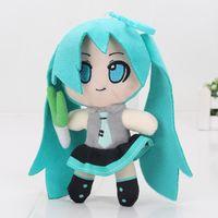 anime peluche regalo al por mayor-Japón Anime VOCALOID Hatsune Miku sonriente muñeca de peluche colgante con gancho suave peluche juguetes de peluche regalos