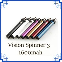 Wholesale New Vision Spinner Batteries - New Vision Spinner III IIIS 1600mAh Variable Voltage Battery Top Twist vs ESMA-T Ola X VV Battery fit EGO 510 thread DHL Free