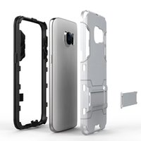 Wholesale Dual Layer Holster Case Galaxy - hybrid armor defender for Galaxy Note4 Note5 S5 S6 S7 edge tough Holster Heavy Duty Armor Shield 2-in-1 Dual Layer Kickstand Case Cover