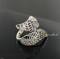 Wholesale romantic tin gift resale online - Engagement Rings Classical Fashion Jewelry Alloy K Gold Plated Romantic Full of Crystal Angel Wings Ring Luxurious Rings