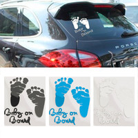 ingrosso autoadesivi bianchi neri per auto-Refective Car Sticker Lovely Lettera Baby on Board Baby Footprints Adesivi Auto Safety Warning Window Sticker Nero Bianco