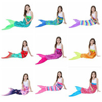 Wholesale Polar Fleece Sleeping Bag - Kids Mermaid Tail Blankets 56*135cm Soft Warm Polar Fleece Sleeping Bags Girls Tail Throw Blanket 10 Colors 30pcs LJJO3320