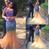 Wholesale Shining Mermaid - Shining Crystal Beaded Mermaid Prom Dresses Plus Size Formal Evening Gowns Two Pieces Custom Made Prom Dress