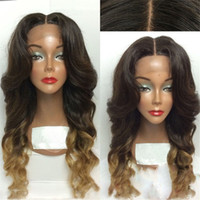 Wholesale Long Body Wave Wigs Synthetic - Stylish Two Tone Ombre Brown Blonde 1b# 27# Long Wavy Hair Lace Front Wig Synthetic African American Ombre Wigs