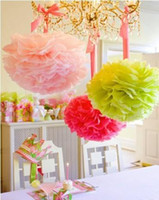 Wholesale holiday tissue paper - Party Decoration 10pcs Wedding Party's Xmas Home Outdoor Decor Tissue Paper Pom Poms Flower Balls Wedding Paper Flower Ball Origami Pro