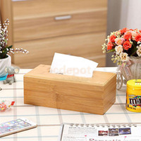 Wholesale Natural Tissue Paper - Wholesale- Natural Bamboo Tissue Paper Box Home Bathroom Car Napkin Case Cover Holder L