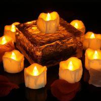 ingrosso tè giallo luci candele-12 pz / lotto Flameless Giallo Flicker Tear Wax Drop Candle Mini Battery Operated Tea Lights Nuovo Arriva Realistico Led Tea Light Candle