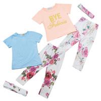 Wholesale Long Vest Tops Wholesale - 2016 New Girls Cartoon Baby INS floral lace suit girl lace vest tops floral flower pants headbands 3pcs suit baby clothes