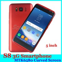 Cheap S8 3G WCDMA Unlocked Cell Phone 5 pouces MTK6580 Dual SIM Camera 5MP Android 5.1 Smart phones cas gratuit DHL expédition