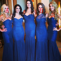 Wholesale one shoulder wedding dresses sweetheart ruffled resale online - 2016 New Cheap Royal Blue Bridesmaid Dresses Long Mermaid One Shoulder Wedding Guest Dress Plus Size Maid of Honor Dresses For Weddings