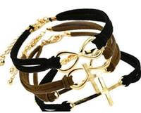 Wholesale Velvet Figure - hot style Figure 8 cross weaving bracelets velvet handmade charm bracelets top quality factory price free shipping multicolor optional