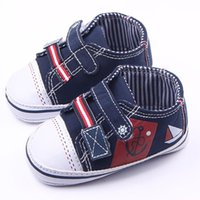 Wholesale Toddler Canvas Slippers - New Arrival Wholesale Canvas Patchwork Upper Hard Sole 2 Hook&loop Toddler Baby Walking Shoes Casual Shoes For Boy Sport Slippers