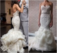 Wholesale Lace Mermaid Weddings Dress - Ruched Mermaid Wedding Dress Lace 2016 Sweetheart Backless Long Train Cascading Ruffles Bridal Gowns with Detachable Beads Belt Modern Bride