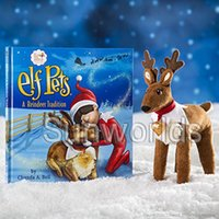 Wholesale Medium Plush Toys - Christmas Gift X-mas Elf Doll Animal Deer Plush Toy with Book on the Shelf Reindeer Pets with Book for Kids IMMEDIATELY DELIVERY