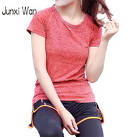 Wholesale Tight Sleeve Tee Shirt Women - Women Dry Quick Gym Compression Tights Sports T-shirt Professional Fitness Running Short Sleeve Tees&Tops Yoga T-shirts WT0190