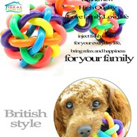 Wholesale Dog Ball Toy Squeak - Funny Rainbow Bell Ball Squeak Toy Sound Chew Ball Pet Dog Cat Puppy Toys Durable High Quality Pet Supplies