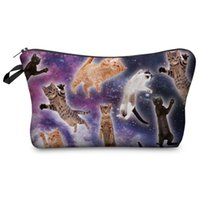 Wholesale Galaxy Print Bags - Wholesale-Fashion Brand Cosmetic Bags 2016 Hot-selling Women Christmas Gift 3D Printing Galaxy Cats Travel Makeup Case H61