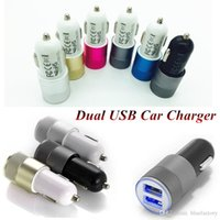 Universal Dual USB Chargeur de voiture LED Light 5V 3.1A Power Charging Adapter Bullet pour iphone 6s Samsung S7 S6 HTC LG