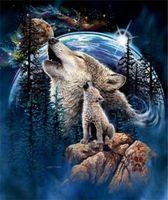 ingrosso dipinti a colori blu-Nuovo diy 5d mosaico pittura diamante punto croce kit animale lupo in sacchetto pieno di resina rotonda diamanti ricamo cucito decorazioni per la casa yx0035