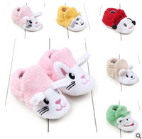 Wholesale Cartoon Shoes For Toddlers - baby fashion winter shoes kids shoes for girl Cartoon soft-soled Toddler First Shoeses Bunny beetle frog Toddler Prewalker 7296