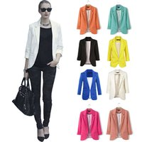 Wholesale Candy Colored Blazers - Foreign trade in Europe and America 2016 new candy-colored suit jacket sleeve without deduction curling Hot Women
