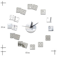 Wholesale wall art free shipping - Living Room Decorative Wall Sticker Clock DIY Acrylic Mirror Wall Clock Mahjong Boson Creative Gift Art Watch Free Shipping
