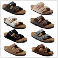 Wholesale Cork Flats - 22 color Arizona Hot sell summer Men Women flats sandals Cork slippers unisex casual shoes print mixed colors flip flop size 34-46