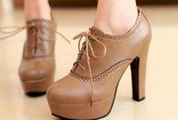 ingrosso tacchi spessi coreani-Impermeabile scarpe col tacco alto in pizzo scolpito 2016 primavera nuovo coreano retrò spesso con suole spesse 236