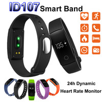 Wholesale Heart Bangle Watches - Fitbit ID107 Smart Bracelet Bluetooth SmartBand Bangle Heart Rate Monitor Wristband Fitness Tracker Watch for Android iOS Smartphone