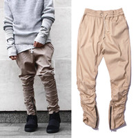Wholesale Fear Factory - Top khaki Black Green korean hiphop fashion pants with zippers factory connection men's urban clothing joggers fear of god