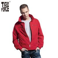 Wholesale Red Jacket Ship - Wholesale- TIGER FORCE 2017 Brand Jacket Men Fashion Casual Jacket Spring Autumn Coat Red Solid Zipper Short Jacket Free Shipping 31369