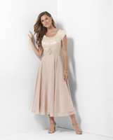Wholesale Chiffon Tea Length Casual Dresses - Champagne Tea Length Long Modest Bridesmaid Dresses With Sleeves Lace Chiffon Mother's Casual Wedding Party Dresses Brides Maids Dresses