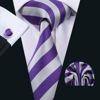 Wholesale Wool Strips - Clasic Silk Men Ties Purple Tie Sets Strips Mens Neck Tie Tie Hanky Cufflinks Sets Jacquard Woven Meeting Business Wedding Party N-1513