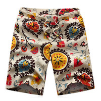 Wholesale Ethnic Floral - Wholesale-2016 Summer Men's Cotton shorts Causual Loose Beach Shorts Fashion Floral Ethnic Basketball Shorts Big Yards M-6XL