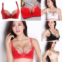 Wholesale Limited Bra - Wholesale-Sexy Women Floral Push-Up Adjustment Brassiere 3 4 Cup Bra Embroidery Underwire Free Time-limited SL7