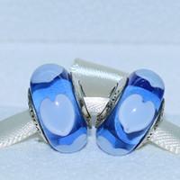 collier de perles de verre coeur bleu achat en gros de-5 pcs 925 Sterling Silver Loose Bead Screw Bleu Coeur En Verre De Murano Charme Lampwork Bead Fit Européenne Bijoux Bracelet Colliers Pendentifs-002